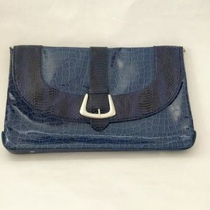 WHBM Blue Leather Large Clutch Purse